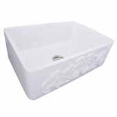 Vineyard Collection 30'' Farmhouse Fireclay Sink with Filigree Apron, Porcelain Enamel Glazed White Finish, 29-3/4''W x 19-3/4''D x 10''H