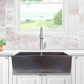 Vineyard Collection 33'' Double Bowl Farmhouse Fireclay Sink with Metallic Glaze, Iridescent Finish, 33''W x 18''D x 10''H