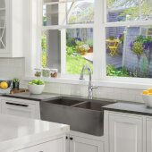 Vineyard Collection Double Bowl Farmhouse Fireclay Sink with Concrete Finish, 33'' W x 18'' D x 10'' H