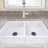 Vineyard Collection 33'' Double Bowl Farmhouse Fireclay Sink with Filigree Apron, Porcelain Enamel Glaze White Finish, 33''W x 18''D x 10''H
