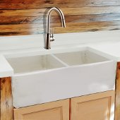 Vineyard Collection 33'' Double Bowl Farmhouse Fireclay Sink in Shabby Straw, 33'' W x 18'' D x 10'' H