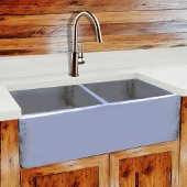 Vineyard Collection 33'' Double Bowl Farmhouse Fireclay Sink in Shabby Sugar, 33'' W x 18'' D x 10'' H