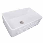Vineyard Collection 33'' Farmhouse Fireclay Sink with Filigree Apron, Porcelain Enamel Glazed White Finish, 33''W x 20''D x 10''H