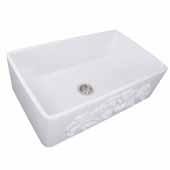 Vineyard Collection 33'' Farmhouse Fireclay Sink with Filigree Apron, Porcelain Enamel Glazed White Finish, 33''W x 20''D x 10''H