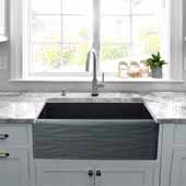 33'' Wide Farmhouse Fireclay Sink with Waves Apron, Matte Black, 33'' W x 20'' D x 10'' H