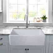 33'' Wide Farmhouse Fireclay Sink with Waves Apron, White, 33'' W x 20'' D x 10'' H