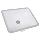 Great Point Collection Glazed Bottom Undermount Rectangle Ceramic Bathroom Sink in Porcelain Enamel Glaze White, 19-1/2'' W x 15-1/2'' D x 7-1/4'' H