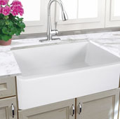 Cape Collection 33'' Italian Farmhouse Fireclay Sink in Porcelain Enamel Glaze White, 32-3/4'' W x 18-3/4'' D x 10'' H