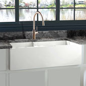 Cape Collection 60/40 Double Bowl Farmhouse Apron Fireclay Sink in Porcelain Enamel Glaze White, 35-1/2'' W x 17-1/2'' D x 9-3/4'' H
