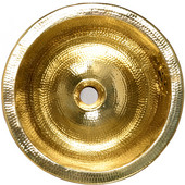 Solid Brass Hammered Round Bathroom Sink, 16-1/2''Dia.x 8-7/8''H