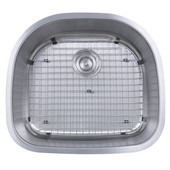 16 Gauge Stainless Steel Single Bowl Sink with Satin Finish & Included Strainer Drain & Bottom Grid, 23-5/8'W x 21-1/8'D x 9'H