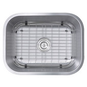 Rectangular Stainless Steel Undermount Sink with Strainer and Grid, 16 Gauge, 23''W x 17-3/4''D x 9''H