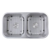Sconcet Collection Double Equal Bowl Undermount Kitchen Sink, 32-1/2'' W