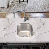 Quidnet Collection Premium 18-Gauge Stainless Steel Undermount Bar/Prep Kitchen Sink, 12-3/4'' W x 15'' D x 7'' H