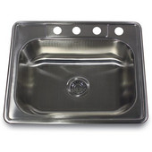 Small Rectangle Single Bowl Self Rimming Stainless Steel Drop In Kitchen Sink, 18 Gauge, 25''W x 22''D x 8''H