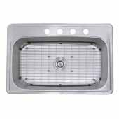 Madaket Collection Large Rectangle Single Bowl Stainless Steel Drop In Kitchen Sink, 33''W x 22''D x 8''H