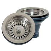 Premium Kitchen Collection Basket Strainer Kitchen Drain for Fireclay Sinks in Brushed Satin Silver, 3-1/2'' Diameter x 4-1/2'' H