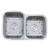 60/40 Double Bowl Undermount Stainless Steel Kitchen Sink, 18 Gauge, 31-1/2''W x 20-3/16''D x 9''H, Large Left Bowl, with (2) Grids and (2) Drains