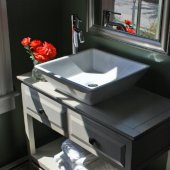 Square Tapered White Vessel Sink, 16-1/8''W x 16-1/8''D x 4-1/4''H
