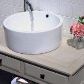 Round White Vessel Sink With Overflow, 16-1/2''W x 16-1/2''D x 6-3/4''H