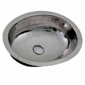 Brightwork Home Collection Hand Hammered Stainless Steel Oval Undermount Bathroom Sink With Overflow, 17-1/2''W x 13-3/4''D x 7-3/8''H