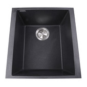 Plymouth Collection Single Bowl Undermount Granite Composite Bar-Prep Sink in Black, 16-1/8''W x 17''D x 8-1/4''H