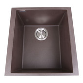 Plymouth Collection Single Bowl Undermount Granite Composite Bar-Prep Sink in Brown, 16-1/8''W x 17''D x 8-1/4''H