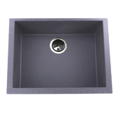 24'' Plymouth Collection Small Single Bowl Undermount Granite Composite Kitchen Sink in Titanium Finish