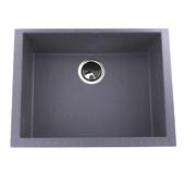 24'' Plymouth Collection Small Single Bowl Undermount Granite Composite Kitchen Sink in Titanium Finish