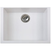 Matte White Small Single Bowl Undermount Granite Composite, 23-5/8''W x 17-3/4''D x 8-1/4''H