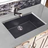 Plymouth Collection Large Single Bowl Undermount Granite Composite Black Sink, 30''W x 17-3/4''D x 8-1/4''H