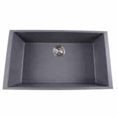 Plymouth Collection Large Single Bowl Undermount Granite Composite Titanium Sink, 30''W x 17-3/4''D x 8-1/4''H