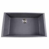 Plymouth Collection Large Single Bowl Undermount Granite Composite Titanium Sink, 30''W x 17-3/4''D x 8-1/4''H