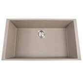 Plymouth Collection Large Single Bowl Undermount Granite Composite Truffle Sink, 30''W x 17-3/4''D x 8-1/4''H