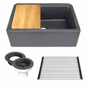 30'' Wide Granite Composite Reversible Farmhouse Kitchen Sink with Accessory Pack, Black with Metallic Flecks