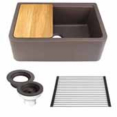 30'' Wide Granite Composite Reversible Farmhouse Kitchen Sink with Accessory Pack, Brown with Metallic Flecks