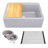 30'' Wide Granite Composite Reversible Farmhouse Kitchen Sink with Accessory Pack, Light Grey with Metallic Flecks