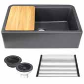 33'' Wide Granite Composite Reversible Farmhouse Kitchen Sink with Accessory Pack, Black with Metallic Flecks
