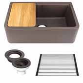 33'' Wide Granite Composite Reversible Farmhouse Kitchen Sink with Accessory Pack, Brown with Metallic Flecks