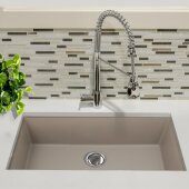 Plymouth Collection 33'' Single Bowl Undermount Granite Composite Kitchen Sink in Truffle, 33'' W x 18-5/8'' D x 11'' H