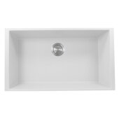Plymouth Collection 33'' Single Bowl Undermount Granite Composite Kitchen Sink in White, 33'' W x 18-5/8'' D x 11'' H