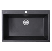 Plymouth Collection 33'' Dual-Mount Granite Composite Sink in Matte Black, 33'' W x 22'' D x 11'' H