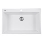 Plymouth Collection 33'' Dual-Mount Granite Composite Sink in Matte White, 33'' W x 22'' D x 11'' H