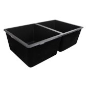 Plymouth Collection 50/50 Double Bowl Undermount Granite Composite Black, 30-5/8'' W x 18'' D x 9-9/16'' H