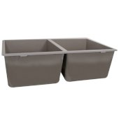 Plymouth Collection 50/50 Double Bowl Undermount Granite Composite Truffle, 30-5/8'' W x 18'' D x 9-9/16'' H