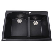 Plymouth Collection 60/40 Double Bowl Dual-Mount Granite Composite Kitchen Sink in Black, 33''W x 22''D x 9-7/8''H