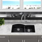 Plymouth Collection 60/40 Double Bowl Undermount Granite Composite Kitchen Sink in Black, 33'' W x 20-1/2'' D x 9-7/8'' H