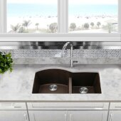 Plymouth Collection 60/40 Double Bowl Undermount Granite Composite Kitchen Sink in Brown, 33'' W x 20-1/2'' D x 9-7/8'' H