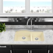 Plymouth Collection 60/40 Double Bowl Undermount Granite Composite Kitchen Sink in Sand, 33'' W x 20-1/2'' D x 9-7/8'' H