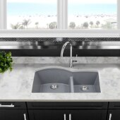 Plymouth Collection 60/40 Double Bowl Undermount Granite Composite Kitchen Sink in Titanium, 33'' W x 20-1/2'' D x 9-7/8'' H